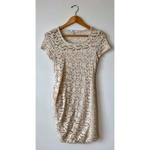 DKNY🌹 Ivory Cream Lace Dress Short Sleeve Bodycon